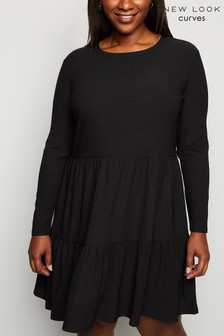 New Look Curve Tie Mini Smock Dress