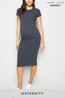 New Look Maternity Ribbed Frill Midi Dress