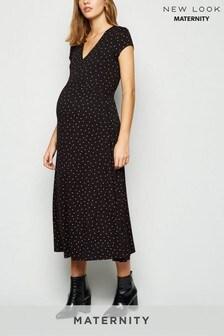 New Look Maternity Spot Empire Jersey Midi Dress
