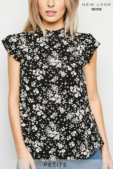 New Look Petite Ditsy Floral High Neck Frill Top
