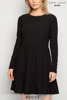 New Look Petite Crinkle Long Sleeve Smock Dress