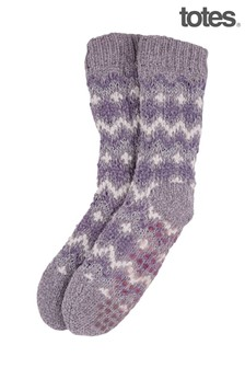 Totes Fairisle Chenille Slipper Socks