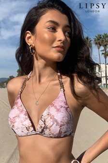Lipsy Animal Print Chain Bikini Top
