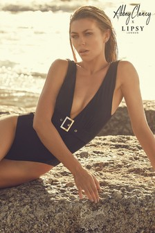 Abbey Clancy x Lipsy Buckle Belted Plunge Swimsuit