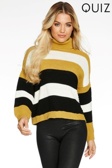 Quiz Knitted Stripe Long Sleeve Roll Neck Jumper
