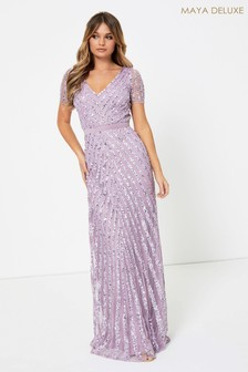 Maya Short Sleeve Stripe Sequin Maxi Dress