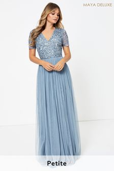 Maya Petite V neck Sequin Maxi Dress
