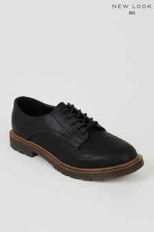 New Look Girls Leather Look Lace Up Brogues
