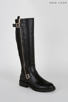New Look Side Zip Chunky Knee High Boots