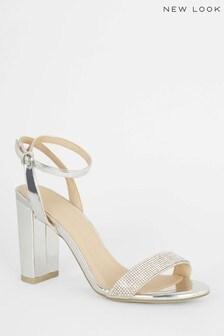 New Look Diamanté Strap Block Heel Sandals