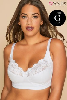 Yours Curve Non-Wired Cotton Bra With Lace Trim