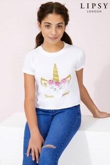 Lipsy Girl Unicorn Eyelash Tee