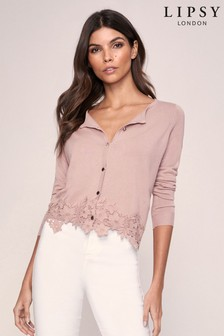 Lipsy Lace Hem Button Through Knitted Cardigan