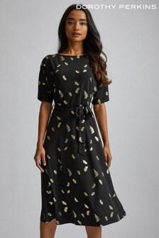 Dorothy Perkins Foil Belted Midi Dress