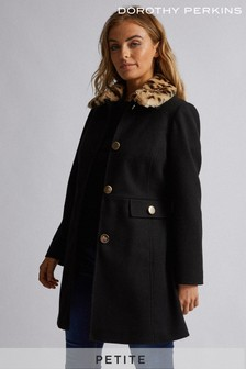 Dorothy Perkins Petite Fur Trim Dolly Coat