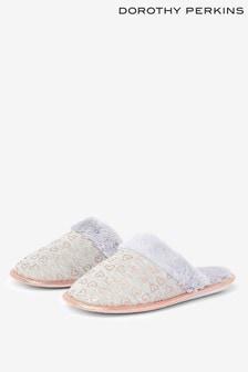 Dorothy Perkins Foil Heart Mule Slippers