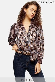 Topshop Petite Animal Smudge Shirt