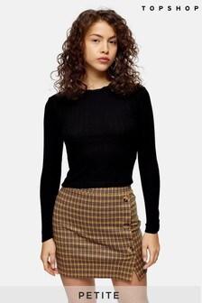 Topshop Petite Pointelle Long Sleeve T-Shirt