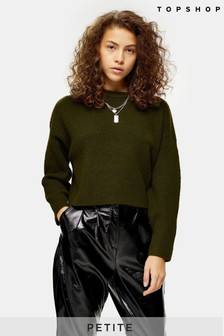 Topshop Petite Knitted Super Soft Crop Jumper