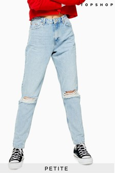 "Topshop Petite Bleach Ripped Mom Jeans 28"" Leg"