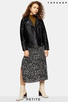 Topshop Petite Floral Pleated Midi Skirt