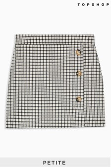 Topshop Petite Check Button Mini Skirt