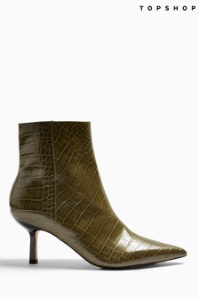 Topshop Maci Crocodile Pointed Boots