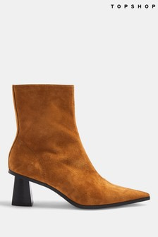Topshop Malie Leather Pointed Boots