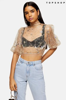 Topshop Mystical Embellished Top