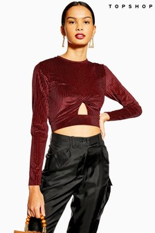 Topshop Cut Out Long Sleeve Ribbed Velvet Top