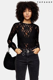 Topshop Daisy Lace Long Sleeve Top