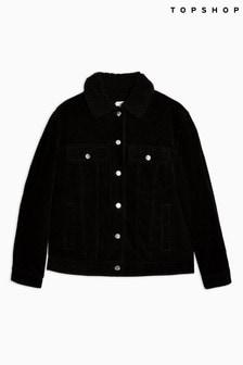 Topshop Oversized Corduroy Borg Jacket