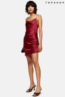 Topshop Satin Ruched Mini Slip Dress