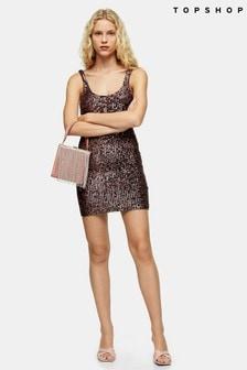 Topshop Sequin Scoop Mini Dress