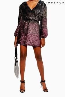 Topshop Ombre Sequin Wrap Dress