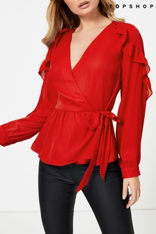 Topshop Plain Wrap Frill Top