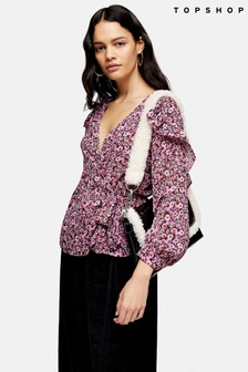 Topshop Ditsy Floral Frill Blouse