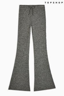 Topshop Tie Ribbed Marl Flare Trousers