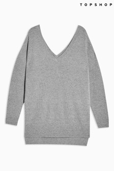 Topshop Grey V neck Knitted Sweater With Jumper