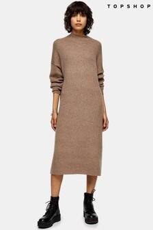 Topshop Longline Woolen Dress