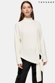 Topshop Knitted Tie Hem Jumper With Wool