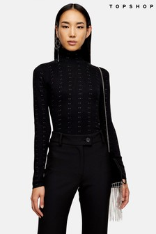 Topshop Knitted All Over Stud Funnel Jumper