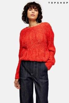 Topshop Knitted Petal Gauzy Jumper