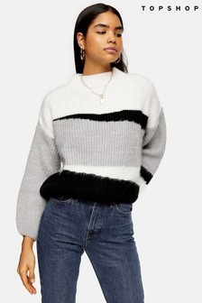 Topshop Knitted Colour Block Crop Jumper