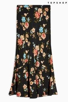 Topshop Multi Floral Flounce Midi Skirt