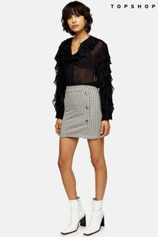 Topshop Check Jersey Button Mini Skirt