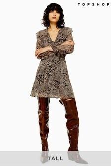 Topshop Tall Heart Animal Print Ruffle Mini Dress