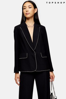 Topshop Diamanté Trim Blazer