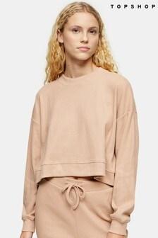 Topshop Brushed Ribbed Crop Loungewear Sweatshirt