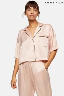 Topshop Pink Hammered Pyjama Satin Shirt